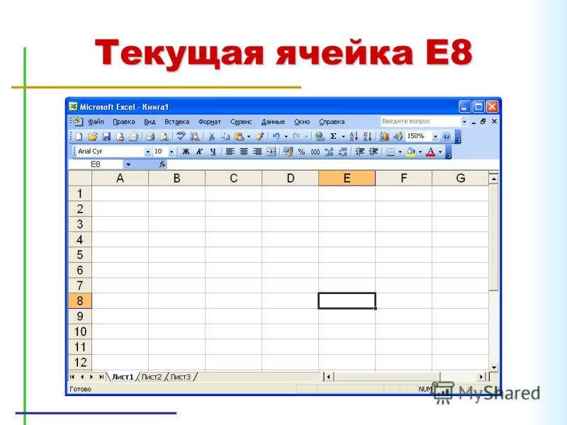 Текущая ячейка E8