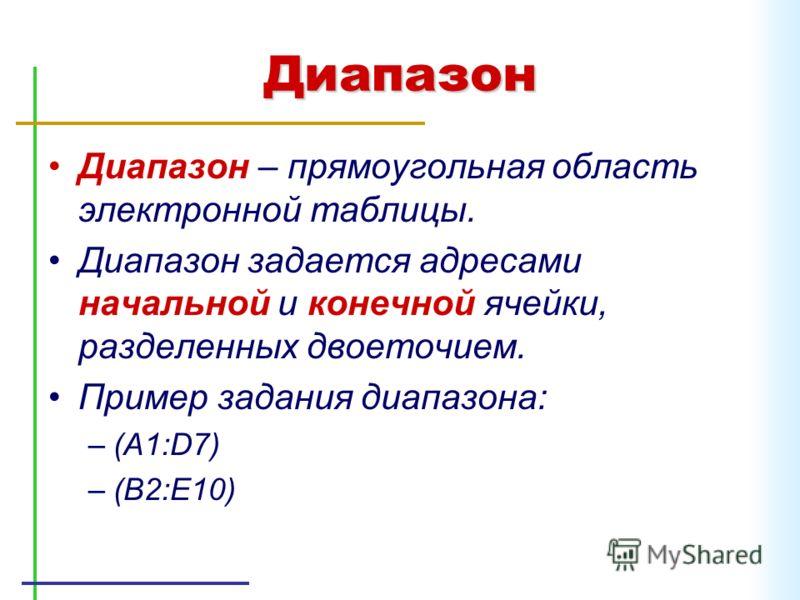 Диапазон Диапазон – прямоугольная область электронной таблицы. Диапазон задается адресами начальной и конечной ячейки, разделенных двоеточием. Пример задания диапазона: –(A1:D7) –(B2:E10)