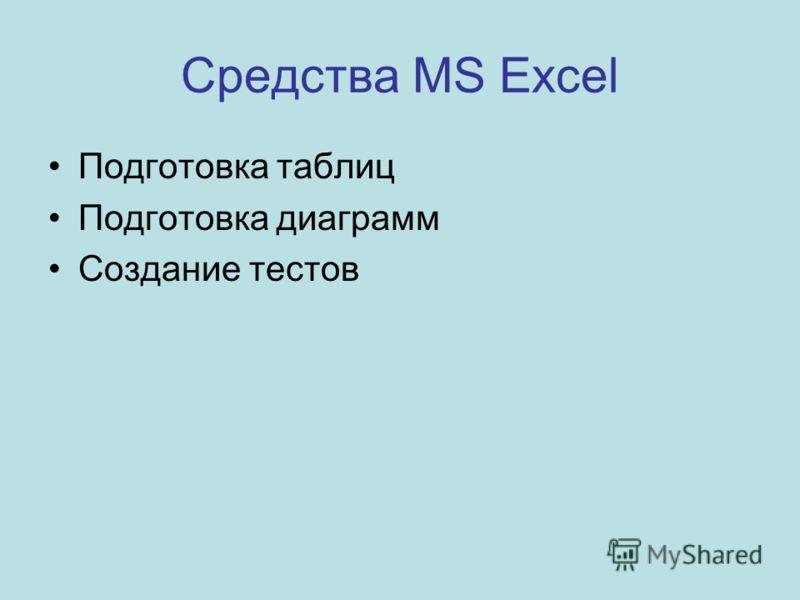 Средства MS Excel Подготовка таблиц Подготовка диаграмм Создание тестов