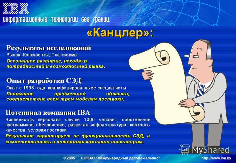 © 2005 СП ЗАО Международный деловой альянсhttp://www.iba.by «Канцлер»:
