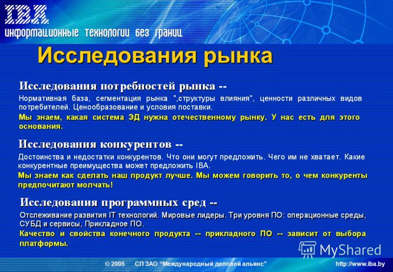 © 2005 СП ЗАО Международный деловой альянсhttp://www.iba.by Исследования рынка
