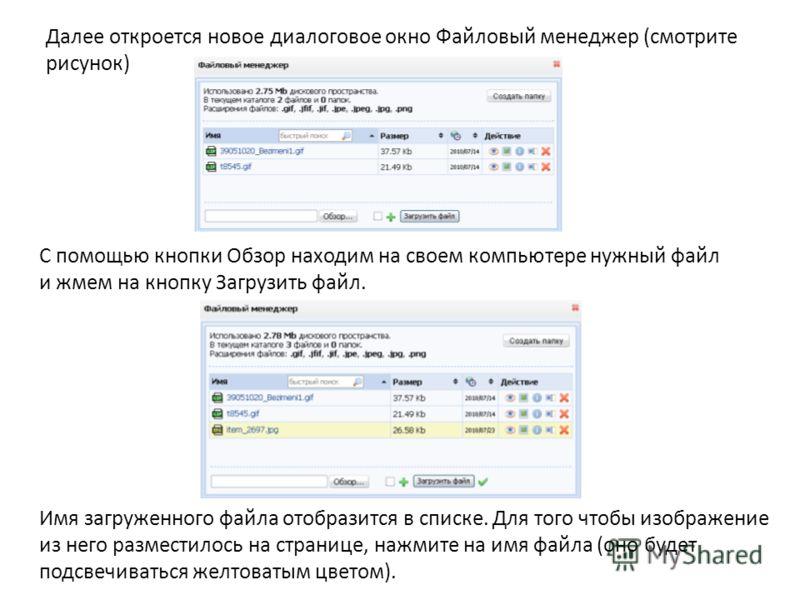 Далее откроется новое диалоговое окно Файловый менеджер (смотрите рисунок) С помощью кнопки Обзор находим на своем компьютере нужный файл и жмем на кнопку Загрузить файл. Имя загруженного файла отобразится в списке. Для того чтобы изображение из него