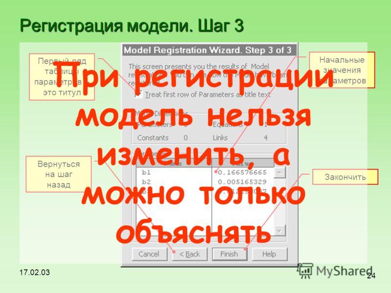 17.02.03 24 Регистрация модели. Шаг 3 Первый ряд таблицы параметров – это титул Начальные значения параметров Вернуться на шаг назад Закончить При регистрации модель нельзя изменить, а можно только объяснять