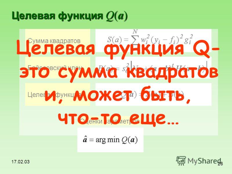 17.02.03 26 Целевая функция Q(a) Сумма квадратов Байесовский член Целевая функция Оценки параметров Целевая функция Q- это сумма квадратов и, может быть, что-то еще…
