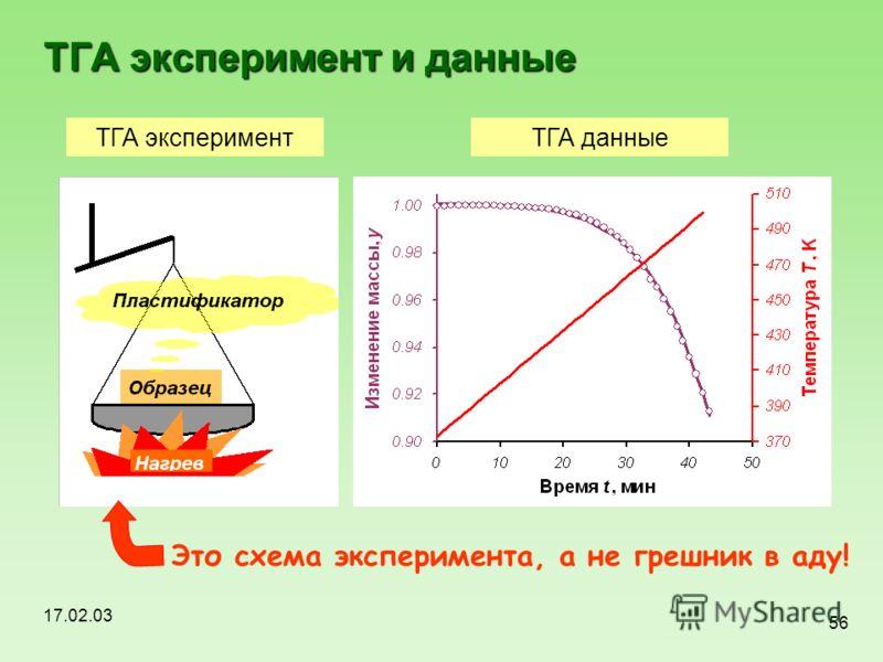 17.02.03 56 ТГА эксперимент и данные ТГА экспериментТГА данные Это схема эксперимента, а не грешник в аду!