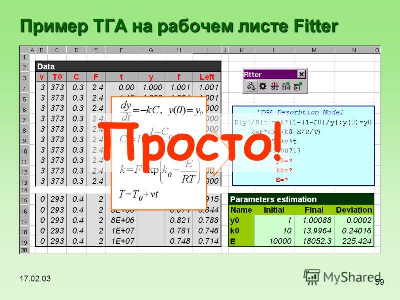 17.02.03 59 Пример ТГА на рабочем листе Fitter Просто!