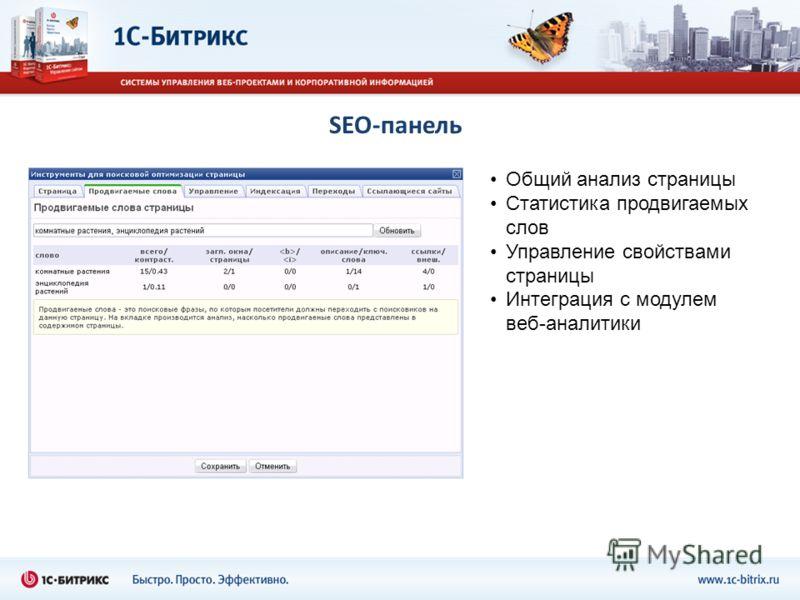 SEO-панель Общий анализ страницы Статистика продвигаемых слов Управление свойствами страницы Интеграция с модулем веб-аналитики