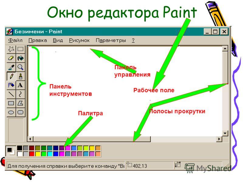 Запуск графического редактора Paint Пуск-Все программы- Стандартные-Paint