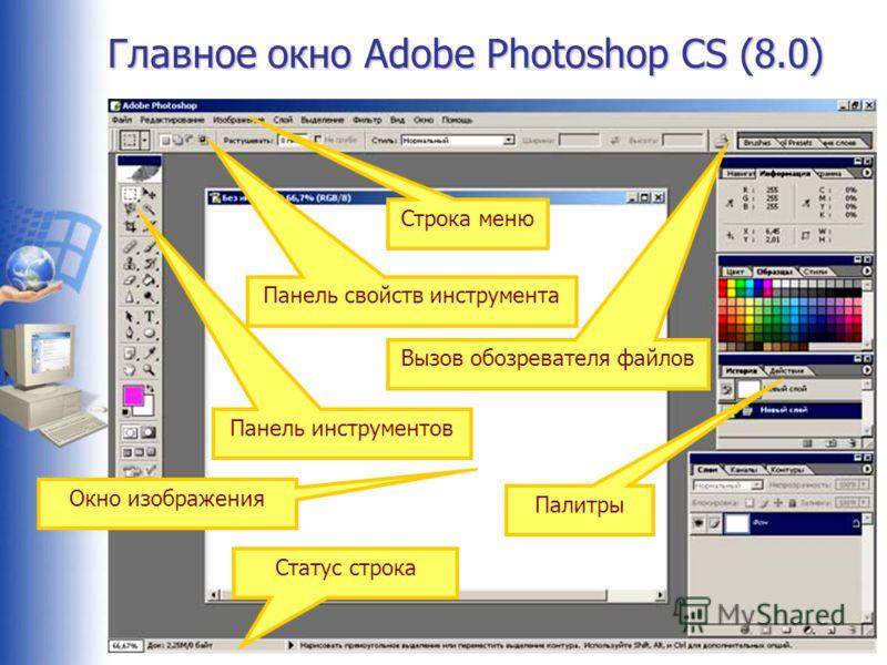 Главное окно Adobe Photoshop CS (8.0) Строка меню Панель инструментов Статус строка Панель свойств инструмента Вызов обозревателя файлов Палитры Окно изображения