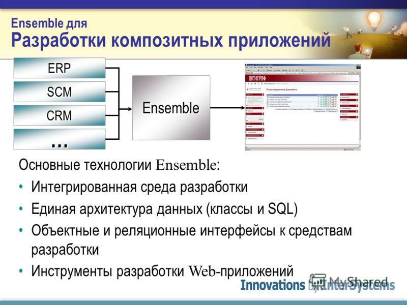 Ensemble для Разработки композитных приложений Основные технологии Ensemble : Интегрированная среда разработки Единая архитектура данных (классы и SQL) Объектные и реляционные интерфейсы к средствам разработки Инструменты разработки Web- приложений E