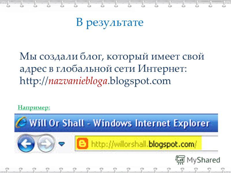 В результате Мы создали блог, который имеет свой адрес в глобальной сети Интернет: http://nazvaniebloga.blogspot.com Например: