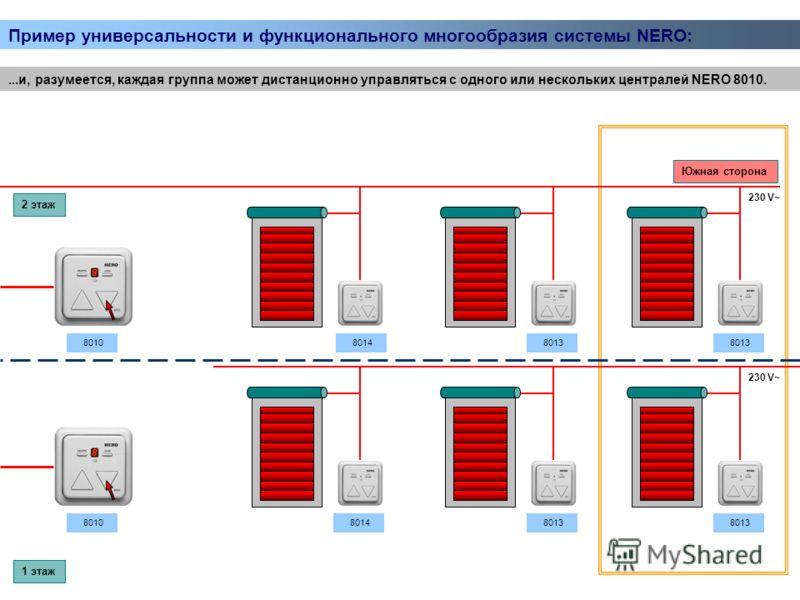 ...и, разумеется, каждая группа может дистанционно управляться с одного или нескольких централей NERO 8010. 230 V~ 8014 8013 2 этаж 1 этаж Южная сторона 8010 Пример универсальности и функционального многообразия системы NERO: