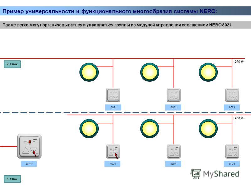 Так же легко могут организовываться и управляться группы из модулей управления освещением NERO 8021. 230 V~ 8021 2 этаж 1 этаж 8010 Пример универсальности и функционального многообразия системы NERO: