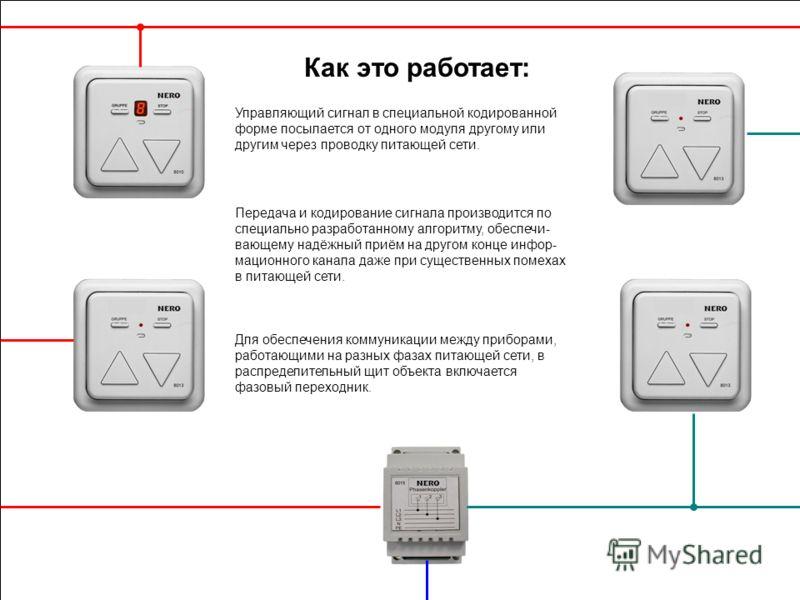 Как это работает: Управляющий сигнал в специальной кодированной форме посылается от одного модуля другому или другим через проводку питающей сети. Для обеспечения коммуникации между приборами, работающими на разных фазах питающей сети, в распределите
