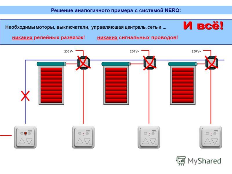 230 V~ Решение аналогичного примера с системой NERO: Необходимы моторы,выключатели,управляющая централь,сеть и... никаких релейных развязок!никаких сигнальных проводов!