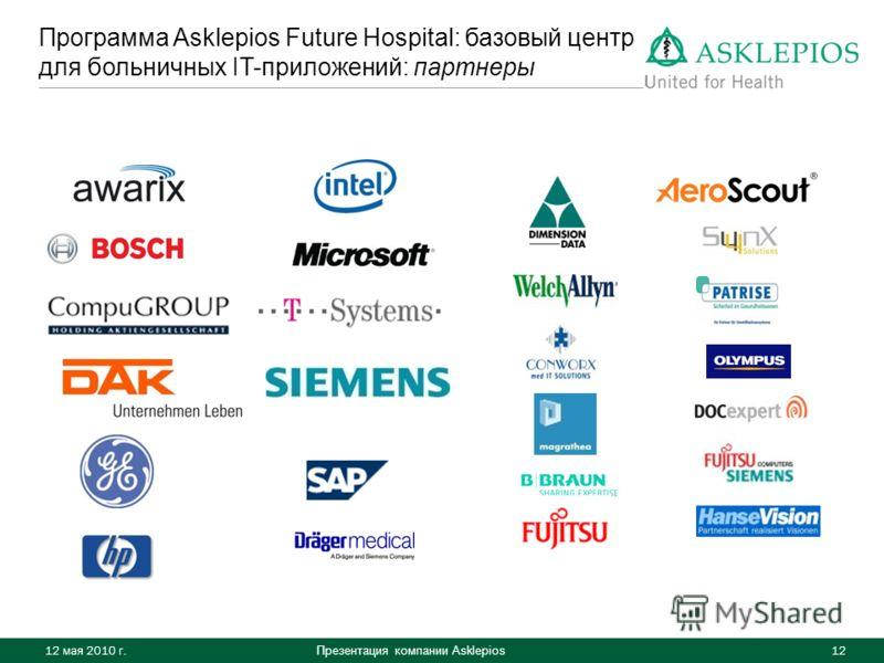 Презентация компании Asklepios 12 Программа Asklepios Future Hospital: базовый центр для больничных IT-приложений: партнеры 12 мая 2010 г.