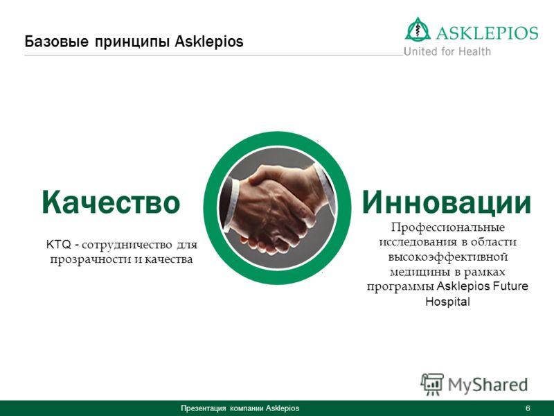 Презентация компании Asklepios 6 Базовые принципы Asklepios КачествоИнновации KTQ - сотрудничество для прозрачности и качества Профессиональные исследования в области высокоэффективной медицины в рамках программы Asklepios Future Hospital