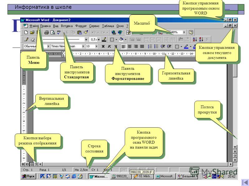 Информатика в школе www.klyaksa.netwww.klyaksa.net Программное окно WORD Кнопки управления окном текущего документа Кнопки управления окном текущего документа Кнопки управления программным окном WORD Кнопки управления программным окном WORD Панель Ме