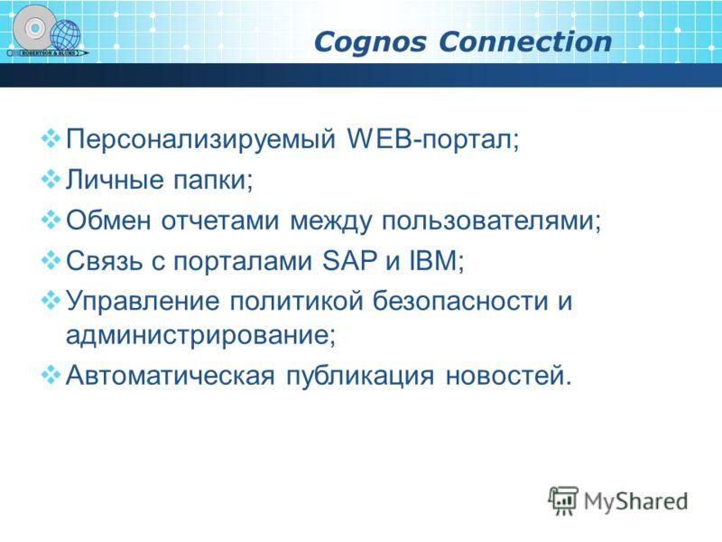 Cognos Connection Персонализируемый WEB-портал; Личные папки; Обмен отчетами между пользователями; Связь с порталами SAP и IBM; Управление политикой безопасности и администрирование; Автоматическая публикация новостей.