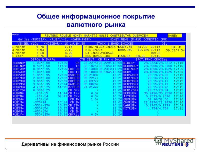 Деривативы на финансовом рынке России Содержание информационное покрытие и аналитика по срочному рынку в Рейтер динамика изменения цен на рынке форвардов техника заключения сделок через Reuters Dealing новые возможности для сделок на CME по валютным