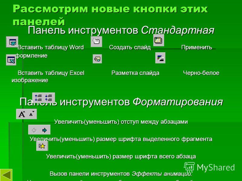 Рассмотрим новые кнопки этих панелей Панель инструментов Стандартная Вставить таблицу Word Создать слайд Применить оформление Вставить таблицу Word Создать слайд Применить оформление Вставить таблицу Excel Разметка слайда Черно-белое изображение Вста
