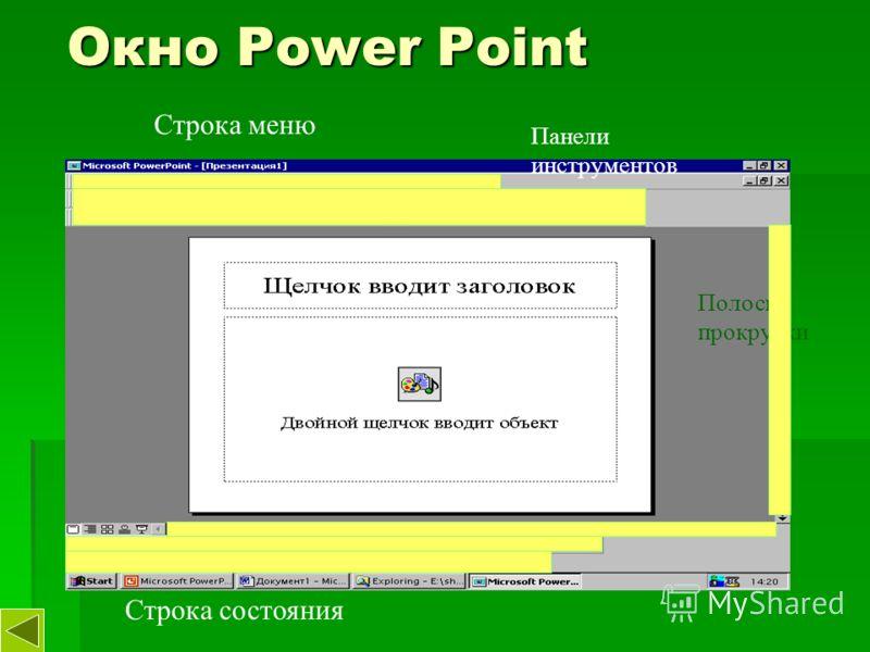 Окно Power Point Строка меню Панели инструментов Полосы прокрутки Строка состояния
