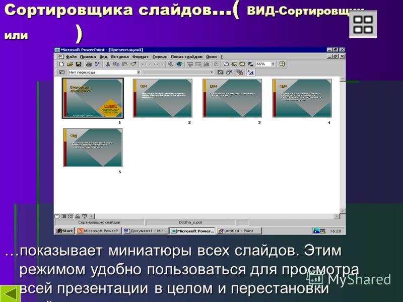 Сортировщика слайдов …( ВИД-Сортировщик… или ) …показывает миниатюры всех слайдов. Этим режимом удобно пользоваться для просмотра всей презентации в целом и перестановки слайдов.