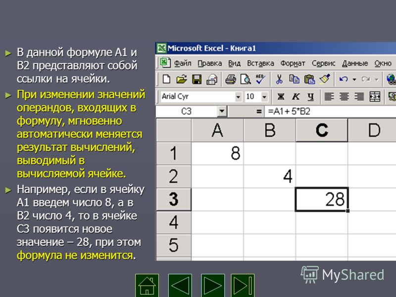 В данной формуле А1 и В2 представляют собой ссылки на ячейки. В данной формуле А1 и В2 представляют собой ссылки на ячейки. При изменении значений операндов, входящих в формулу, мгновенно автоматически меняется результат вычислений, выводимый в вычис