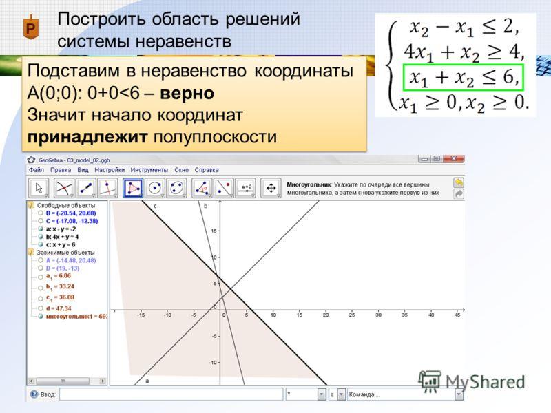 Построить область решений системы неравенств Подставим в неравенство координаты А(0;0): 0+0