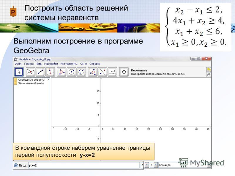 Построить область решений системы неравенств Выполним построение в программе GeoGebra В командной строке наберем уравнение границы первой полуплоскости: y-x=2