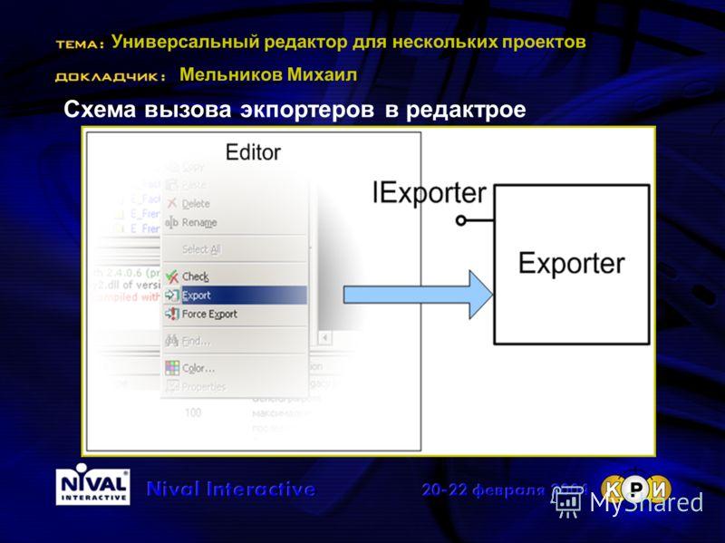 Универсальный редактор для нескольких проектов Мельников Михаил Схема вызова экпортеров в редактрое