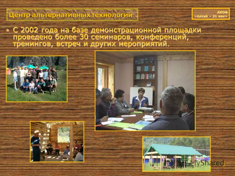 С 2002 года на базе демонстрационной площадки проведено более 30 семинаров, конференций, тренингов, встреч и других мероприятий. С 2002 года на базе демонстрационной площадки проведено более 30 семинаров, конференций, тренингов, встреч и других мероп