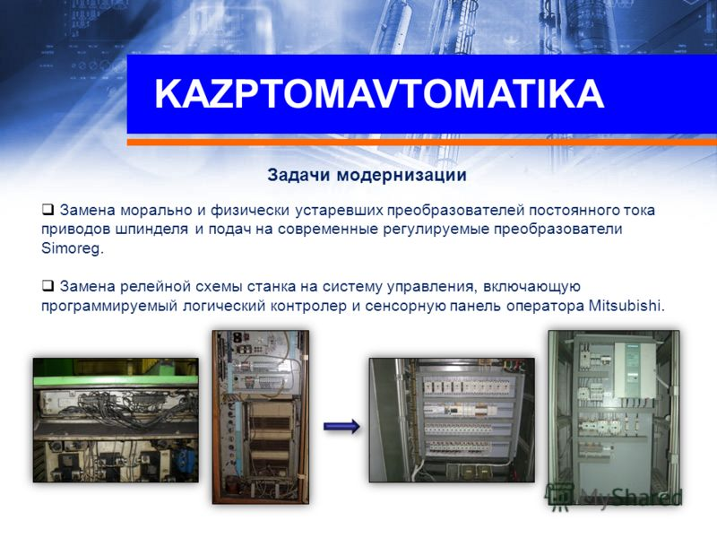 Задачи модернизации Замена морально и физически устаревших преобразователей постоянного тока приводов шпинделя и подач на современные регулируемые преобразователи Simoreg. Замена релейной схемы станка на систему управления, включающую программируемый