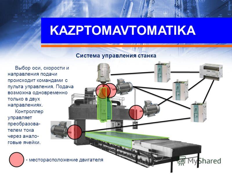Система управления станка Выбор оси, скорости и направления подачи происходит командами с пульта управления. Подача возможна одновременно только в двух направлениях. - месторасположение двигателя Контроллер управляет преобразова- телем тока через ана