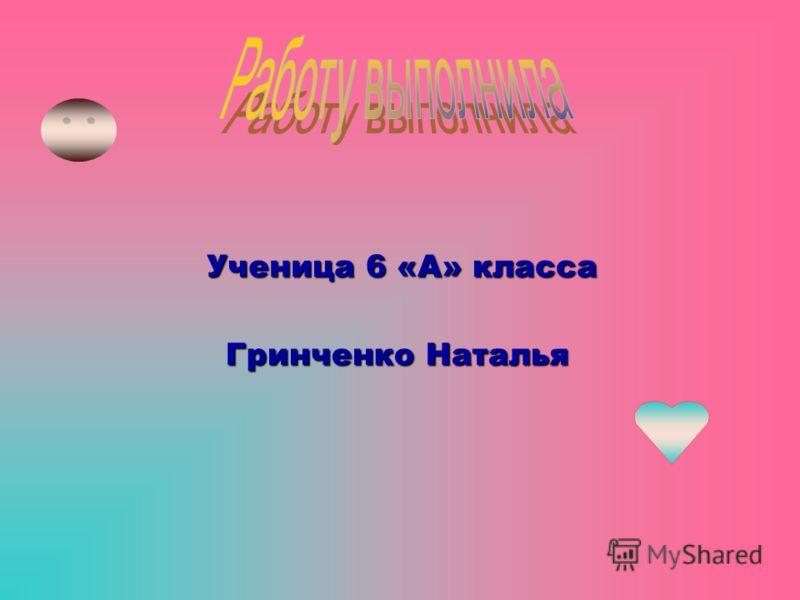 Гринченко Наталья Ученица 6 «А» класса