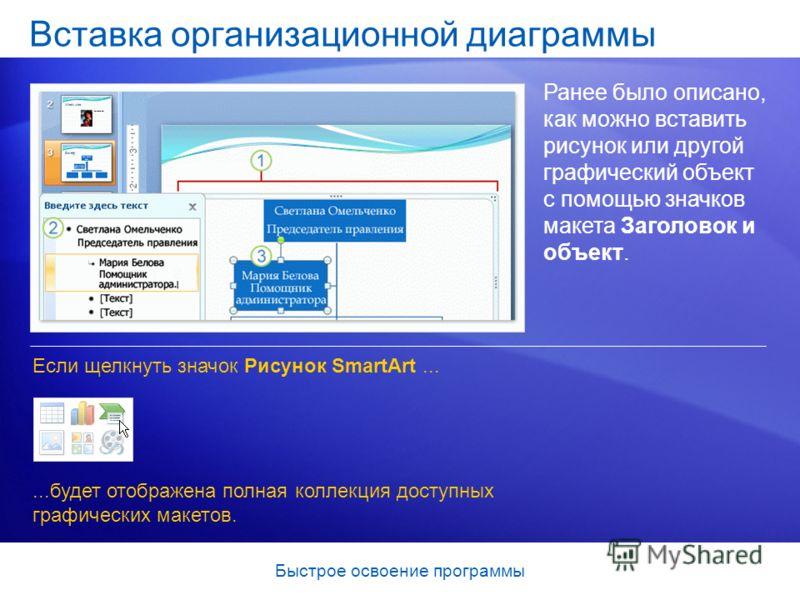 Быстрое освоение программы Вставка организационной диаграммы Ранее было описано, как можно вставить рисунок или другой графический объект с помощью значков макета Заголовок и объект. Если щелкнуть значок Рисунок SmartArt......будет отображена полная