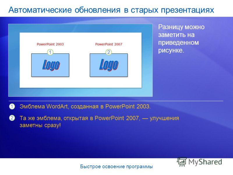 Быстрое освоение программы Автоматические обновления в старых презентациях Разницу можно заметить на приведенном рисунке. Эмблема WordArt, созданная в PowerPoint 2003. Та же эмблема, открытая в PowerPoint 2007, улучшения заметны сразу!
