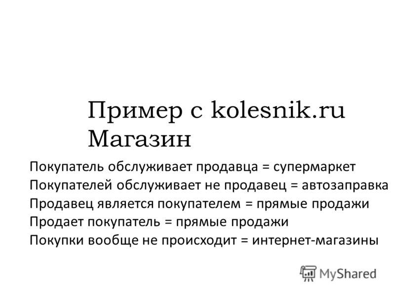 Покупатель обслуживает продавца = супермаркет Покупателей обслуживает не продавец = автозаправка Продавец является покупателем = прямые продажи Продает покупатель = прямые продажи Покупки вообще не происходит = интернет-магазины Пример с kolesnik.ru