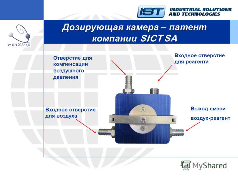 Отверстие для компенсации воздушного давления Входное отверстие для реагента Входное отверстие для воздуха Выход смеси воздух-реагент