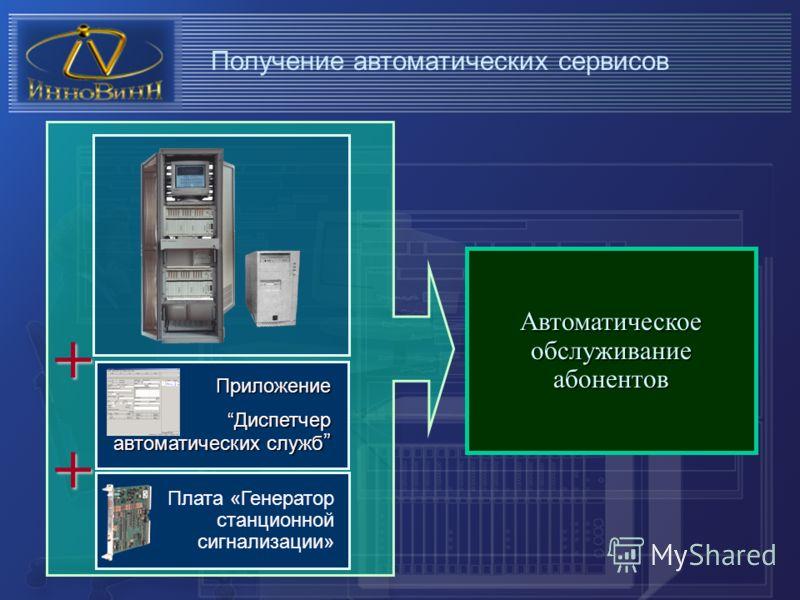 Получение автоматических сервисов Автоматическое обслуживание абонентов Приложение Диспетчер автоматических служб Диспетчер автоматических служб Плата «Генератор станционной сигнализации» + +