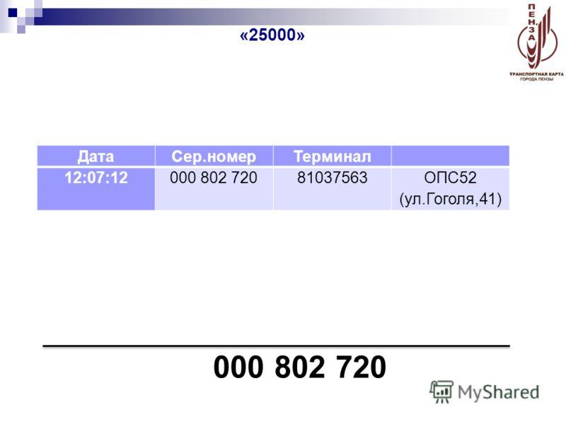 000 802 720 «25000» ДатаСер.номерТерминал 12:07:12000 802 72081037563ОПС52 (ул.Гоголя,41)