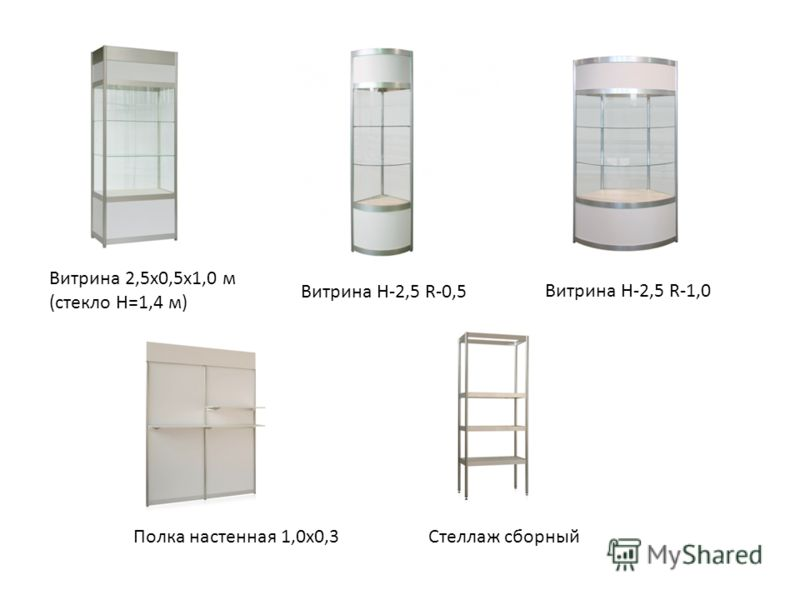 Витрина 2,5х0,5х1,0 м (стекло Н=1,4 м) Витрина Н-2,5 R-0,5 Витрина Н-2,5 R-1,0 Полка настенная 1,0х0,3Стеллаж сборный