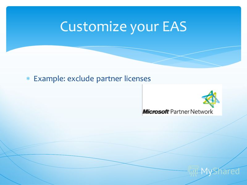 Example: exclude partner licenses Customize your EAS