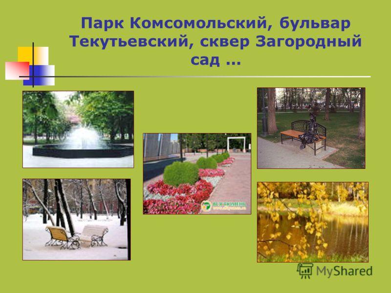 Парк Комсомольский, бульвар Текутьевский, сквер Загородный сад...