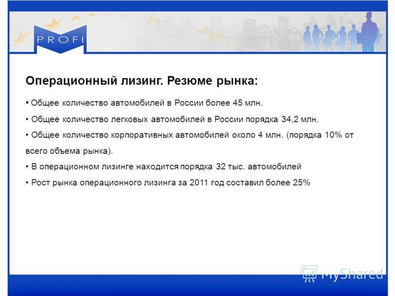Операционный лизинг. Резюме рынка: Общее количество автомобилей в России более 45 млн. Общее количество легковых автомобилей в России порядка 34,2 млн. Общее количество корпоративных автомобилей около 4 млн. (порядка 10% от всего объема рынка). В опе