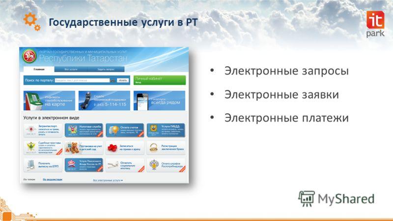Государственные услуги в РТ Электронные запросы Электронные заявки Электронные платежи