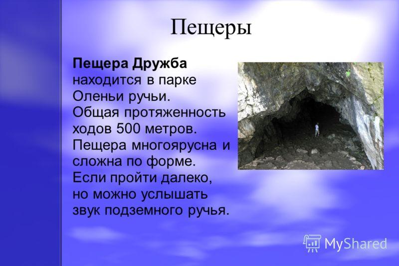 Пещеры Пещера Дружба находится в парке Оленьи ручьи. Общая протяженность ходов 500 метров. Пещера многоярусна и сложна по форме. Если пройти далеко, но можно услышать звук подземного ручья.
