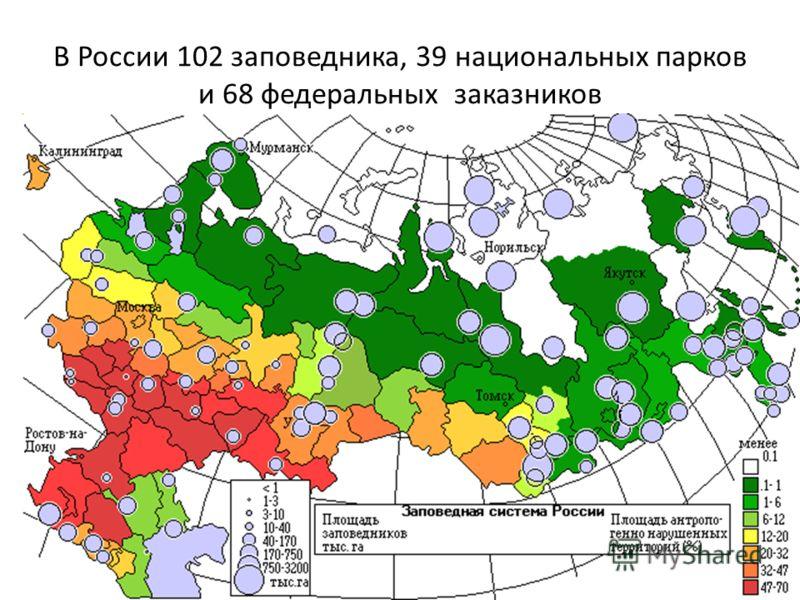 В России 102 заповедника, 39 национальных парков и 68 федеральных заказников