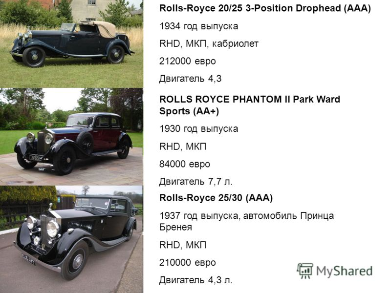 Rolls-Royce 20/25 3-Position Drophead (ААА) 1934 год выпуска RHD, МКП, кабриолет 212000 евро Двигатель 4,3 ROLLS ROYCE PHANTOM II Park Ward Sports (АА+) 1930 год выпуска RHD, МКП 84000 евро Двигатель 7,7 л. Rolls-Royce 25/30 (ААА) 1937 год выпуска, а