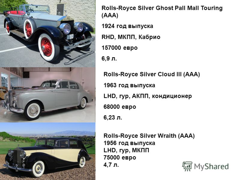 Rolls-Royce Silver Ghost Pall Mall Touring (ААА) 1924 год выпуска RHD, МКПП, Кабрио 157000 евро 6,9 л. Rolls-Royce Silver Cloud III (ААА) 1963 год выпуска LHD, гур, АКПП, кондиционер 68000 евро 6,23 л. Rolls-Royce Silver Wraith (ААА) 1956 год выпуска
